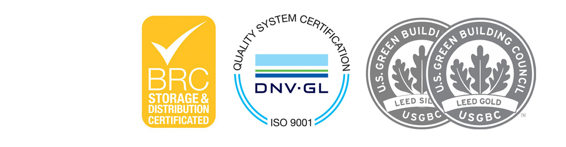 U.S. Green Building Council / Leed Silver-Gold - BRC Storage & Distribution Certificated - ISO 9001 SGS