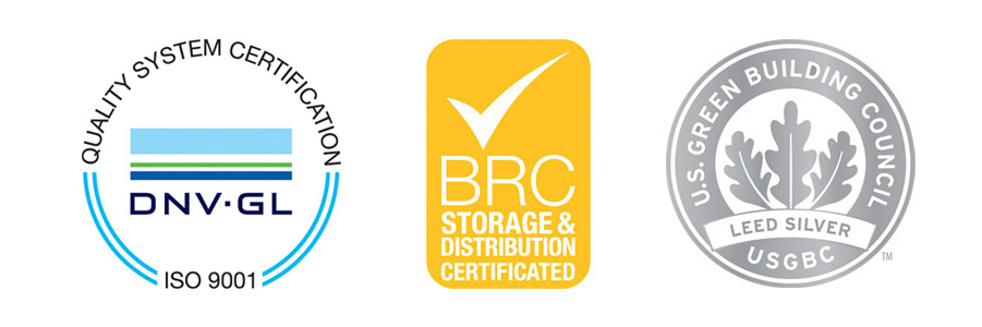 U.S. Green Building Council / Leed Silver- BRC Storage & Distribution Certificated - ISO 9001 SGS